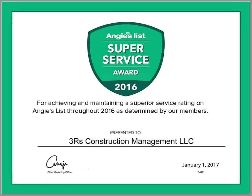 3Rs Construction Salem Oregon Super Service Award from Angie's List