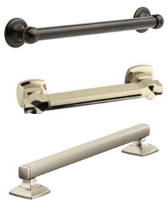 Grab bar finishes and styles