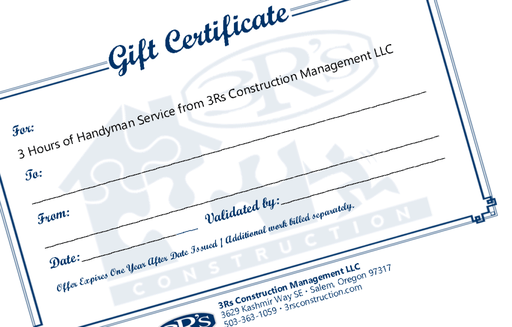 3Rs Construction Gift Certificate Handyman Service