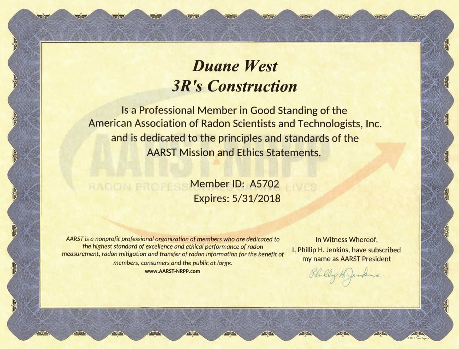 3Rs Construction Radon Certificate from AARST
