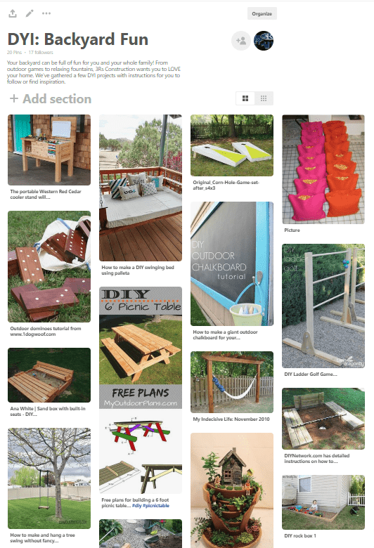 3Rs Construction Pinterest Board DYI Backyard Fun
